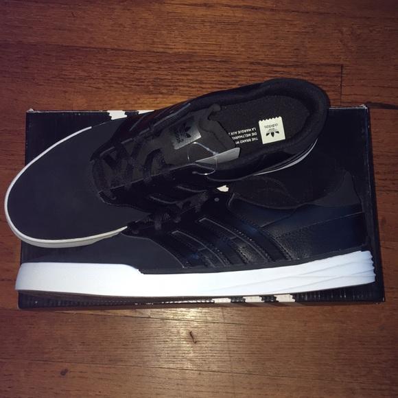 Adidas Triad Black Leather Skate Shoe